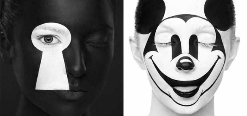 Tvářička jako obrázek - make-up mění obličeje ve 2D malby