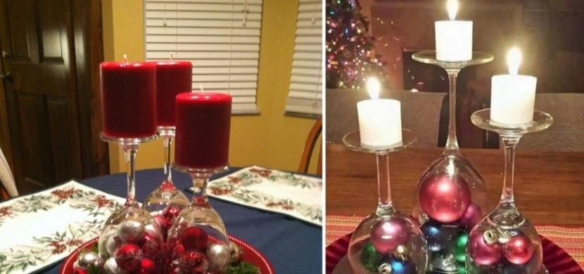 Adventní výzdoba levně, rychle a netradičně: Vánoční dekorace ze sklenic na víno