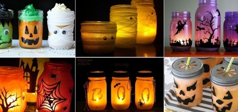 Halloweenská dekorace ze zavařovacích sklenic: Vyrobte si halloweenskou lucernu