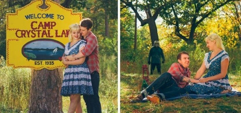 Snoubenci nafotili děsivé zásnubní fotky: Inspirovali se kultovním hororem Pátek třináctého