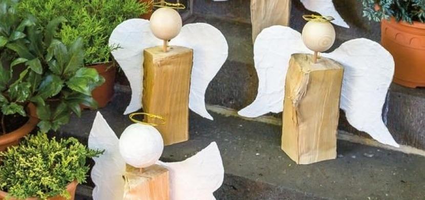Anděl ze špalku nebo polínka: Proměňte dřevo na podpal ve vánoční dekoraci
