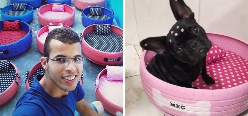 Brazilec Amarildo Silva recykluje staré pneumatiky na pelíšky pro zvířata. Jeho výrobky jsou originální a šetří životní prostředí