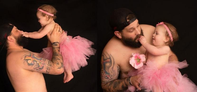 Single táta Casey Fields se fotil se svou roční dcerkou: Oba dva si oblékli tutu sukénky