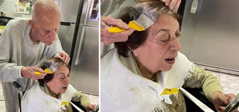 Dojemné foto z izraelské karantény: 92letý Ezra barví vlasy své 89leté ženě Beloved