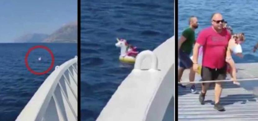 Nafukovací jednorožec odnesl 5letou holčičku z řeckého pobřeží na širé moře. Zachránil ji kapitán trajektu
