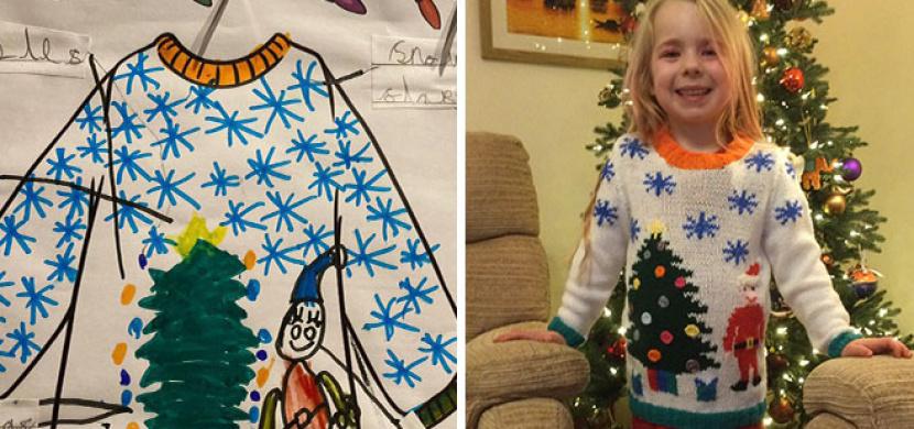 Krásné vánoční překvapení: Babička upletla vnučce stylový vánoční svetr, předlohou byl dívenčin obrázek